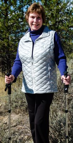 """Yes, you can look stylish while hiking. Another pinner said: """"The North Face ThermoBall Vest offers just enough warmth to keep Donna warm on a crisp, fall Montana hike. Donna especially likes the sleek look and all those pockets! Team it up with a North Face jacket and she'll be toasty warm on a snowshoe hike this winter."""" @sportsauthority #sponsored"""