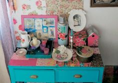 Cute decoupaged dresser and pretty vintage styling