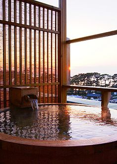 would love to visit one of these Japanese Bath, Japanese Style, Japanese Hot Springs, Tokyo Hotels, Japanese Interior, Japanese Culture, Japan Travel, Exterior Design, Places To Go
