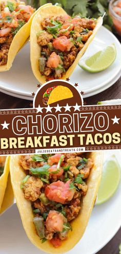 Grab some corn tortillas and whip up this easy breakfast tacos recipe! No one would want to miss out on this dish stuffed with scrambled eggs, chorizo, vegetables, and beans. Top with some salsa, pico… Chorizo Breakfast, Breakfast Tacos, Make Ahead Breakfast, Breakfast Ideas, Delicious Breakfast Recipes, Yummy Food, Tasty, Corn Tortilla Recipes, Corn Tortillas