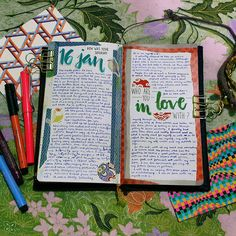 """""""Weekend pages. Lol at me in love with me. ❤ And mad love for mad optical art colouring postcards! #midori #midoritravelersnotebook #mtn #artjournal…"""""""