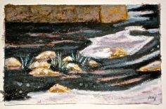 """Oil Pastel Procedure for """"Melting Ice on the Grand River"""" Purple Streaks, Postcard Paper, Oil Pastel Art, Acrylic Box, How To Take Photos, Pencil Drawings, Art Work, Ice, Artist"""
