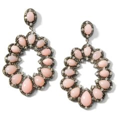Gastineau Glamour Pink Opal and CZ Sterling Silver Doorknocker Earrings