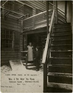 """Kitty Morton at door of Will o' the Wisp Tea Room, Sheridan Square - Greenwich Village, New York; """"I Could Spend Hours in Thy Society"""": Will o' the Wisp Tea Room, Sheridan Square, Greenwich Village, c.1912-1925.  Jessie Tarbox Beals Photograph Collection, PR 004, Department of Prints, Photographs, and Architectural Collections, New-York Historical Society, 67534."""