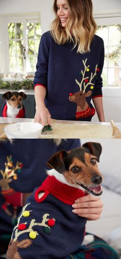 """We couldn't create our annual festive jumper and not make one for your four-legged friend too! """"His"""" being the dog, and """"Her"""" being the most important person in his life. Christmas Jumpers for Dog Lovers 2020. Christmas Jumpers for Mum 2020. Christmas Jumper for all the Family 2020. Gifts for Mum 2020. Fun Christmas Jumpers 2020. Christmas Jumpers for Dogs 2020. Fashionable Christmas Jumpers 2020. Gifts ideas for Dog Owners 2020. The Best Christmas Jumpers 2020. Dog Coats for Winter. Xmas Family Christmas Jumpers, Best Christmas Sweaters, Christmas Jumper Day, Christmas Fun, Festive Jumpers, Xmas Jumpers, Party Jumpers, Family Pjs, Dog Winter Coat"""