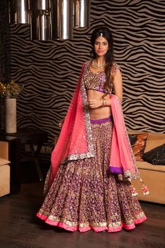 For any replicas mailto zifaafstudio@gmail.com....Gorgeous lehenga. Purple wedding clothes
