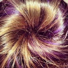 Purple Streak Hair Bun  Photo by momentumtoni