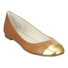 Time for new flats! Love these simple camel flats with a punch of gold from Nine West for $79