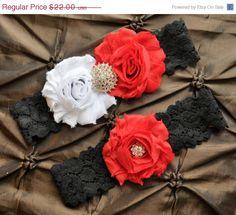 Wedding Garter Set Bridal Black Lace Red