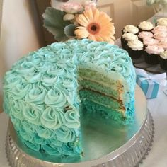 Ombre Rose Turquoise Cake