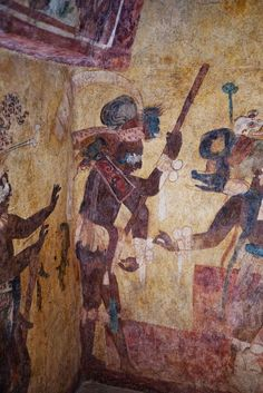 Ancient Mayan wall Frescos from a room in the Maya archaeological site Bonampak in the Mexican state of Chiapas.: