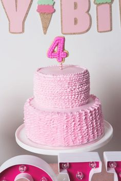 Pink ruffled cake from Ice Cream Parlour Birthday Party at Kara's Party Ideas. See the many shades of pink at karaspartyideas.com!
