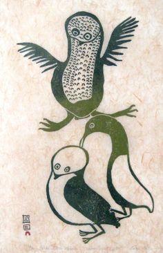 Three Little Birds by Lucy Quinnuayauk 1963 stonecut Arte Inuit, Inuit Art, Owl Art, Bird Art, Three Little Birds, Spirited Art, Visual Aids, Canadian Art, Indigenous Art