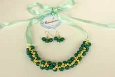 Green with yellow beaded Necklace and earrings