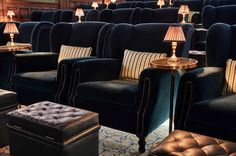 Soho House's Newest Edition in Barcelona | Rue Home Cinema Room, Home Theater Rooms, Home Theater Design, Home Theater Seating, Sofa Furniture, Living Room Furniture, Basement Furniture, Living Rooms, Soho House Barcelona