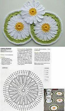 Crochet Leaves, Crochet Circles, Crochet Flower Patterns, Crochet Stitches Patterns, Thread Crochet, Crochet Designs, Crochet Flowers, Crochet Coaster Pattern, Granny Square Crochet Pattern