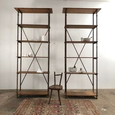 Beautiful pair of industrial scherf shelves wood and metal Industrial Shop, Ladder Bookcase, Wood And Metal, French Antiques, Shelves, Furniture, Home Decor, North West, Shelving