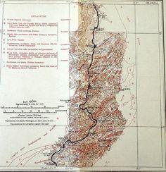 1916 Canyonville, Roseburg, Oakland, Doe Creek, Yoncalla Oregon Railroad Map, Shasta Route. Umpqua River OR Antique Topographic Vintage