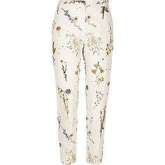 Smart woven fabric Floral print pattern Slim fit High waisted Concealed zip fastening