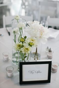 Framed table numbers of artist's name   floral design by http://bandbflowerdesigns.com/   photography by http://www.courtneyaaron.com/