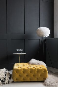 9 Playful Tips AND Tricks: Wainscoting Stairway Floors modern wainscoting floor colors.Wainscoting Shelf Board And Batten modern wainscoting floor colors. Grey Room, Living Room Grey, Living Room Decor, Dark Wooden Floor Living Room, Living Area, Yellow Ottoman, Yellow Sofa, Yellow Rooms, Yellow Carpet