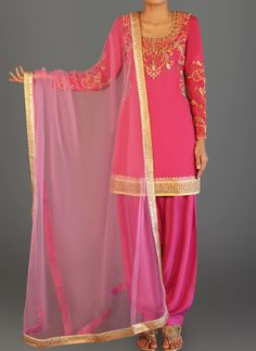 Pink Dhupioni Silk Punjabi Suit