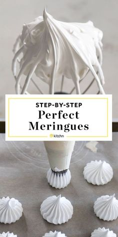 How to Make a French Meringue Cookies Recipe. So simple, easy, and pure, meringues are the lightest, almost cloud-like cookies and pastries with a crisp outer French Meringue Cookies Recipe, Baked Meringue, Meringue Desserts, Köstliche Desserts, Delicious Desserts, How To Make Meringue, Meringue Kisses, Making Meringue, Tootsie Pops