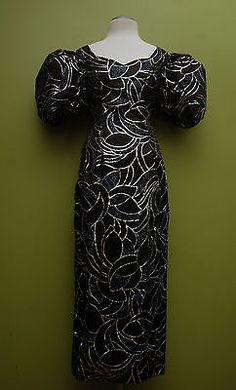 Vintage Black & Silver J. Reynolds Designs Atlanta Evening Gown Size 9/10
