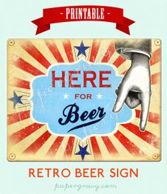 INSTANT DOWNLOAD Printable Sign Retro Beer BBQ party decoration. $6.50, via Etsy.