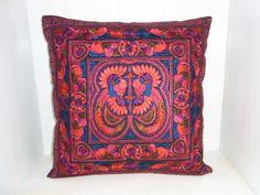 Cushion Cover HMONG Hill Tribe Thailand FAIR Trade Handmade Red Birds (cs011rb)