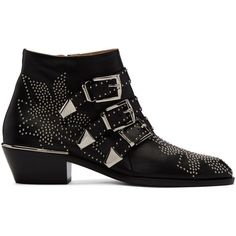 Chloé Black Susanna Boots (7.230 DKK) ❤ liked on Polyvore featuring shoes, boots, ankle booties, black, black zipper boots, zip boots, zipper boots, studded ankle booties and black studded boots