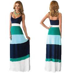 Bohemia Long Maxi Dress Summer Sexy Sling Dress Splicing Color Stripe Dress