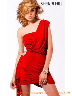 45153486cd9 One Shoulder Sexy Red Cocktail Dresses 2011 Homecoming Dresses Under 100