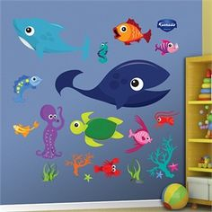 If you're looking for easy to use kids ocean wall decor, please consider the Fathead Sea Creatures Wall Graphics. The bright colors and durability make Fathead graphics a great choice in nursery and toddler rooms, even at schools! #peelandstick #decals http://www.sensoryedge.com/fathead-sea-creatures-group-one.html