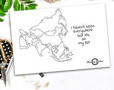 Asia Planner Stickers kaart van Azië kaart van de wereld