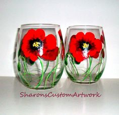 Red Poppies  Hand Painted wine Glasses Poppies Poppy Red Flower  Set of 2 Handpainted 20 oz. Stemless Wine Glasses on Etsy, $40.00