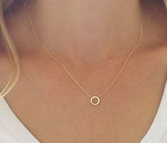 Dainty circle necklace, Karma necklace, Gold circle necklace, Minimalist…