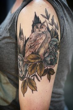 alicecarrier: Harry Potter tattoo! Thanks Katie!!! Ravenclaw roses, a great horned owl, and hogwarts silhouetted in the background.