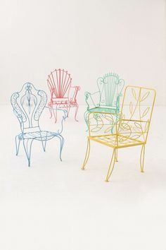 Painted Patio Chairs Spray paint old metal chairs bright colors for a new look. Wish I'd thought of these colours before I painted mine white Lawn Chairs, Garden Chairs, Metal Chairs, Painted Chairs, Room Chairs, Love Chair, Iron Furniture, Outdoor Furniture, Country Furniture
