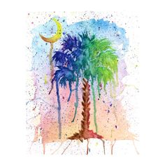 Palmetto tree and crescent moon Art Watercolor Print.   South Carolina Art on Etsy.