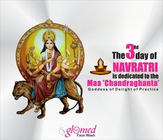 The third day is dedicated to the goddess 'Chandraghanta', the symbolic representation of beauty and bravery