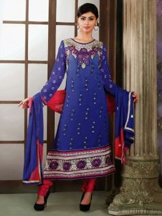 Royal Blue Georgette Suit With Resham Embroidery Work