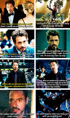 More Tony Stark sass. OMG the top left hand one...outsiders! :-(
