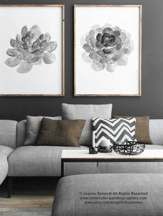 Succulent Art Print Grey Illustration Botanical Drawing. Abstract Illustration set of 2 Charcoal Cactus Succulents. Cacti Two Art Prints Living Room Decor Gray Poster. In the first Picture the Succulents are printed on off-white canvas: Width: 24 - 91,5cm Height: 36 - 61cm Type of