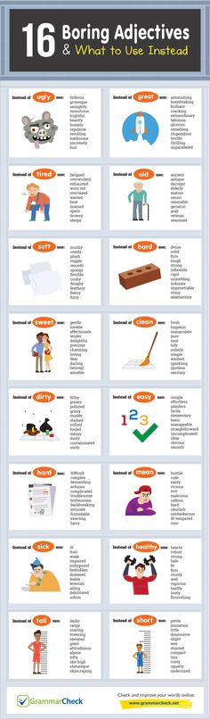 Writers Write is a comprehensive writing resource. In this infographic, we share 16 boring adjectives and what to use instead. English Writing Skills, English Lessons, Teaching English, Teaching Writing, Writing Help, Writing Tips, English Vocabulary Words, Learn English Words, Writing Words