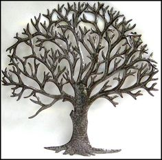 Large Metal Tree Wall Art tree metal wall art - silver wall decor - tree art - metal art