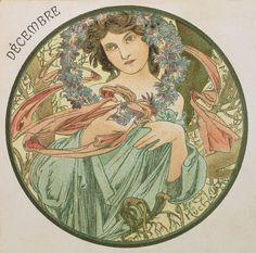 ❤ - Alphonse Mucha | The Months - December, 1899.