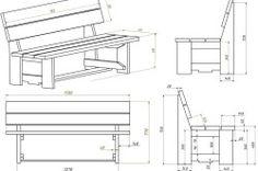 Схема скамейки со спинкой