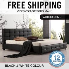 Bed Frame Double Queen King Black White PU Leather Metal Joint Wooden Legs Bravo #MelbourniansFurniture #Modern