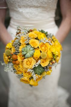 yellow flowers and succulent bouquet
